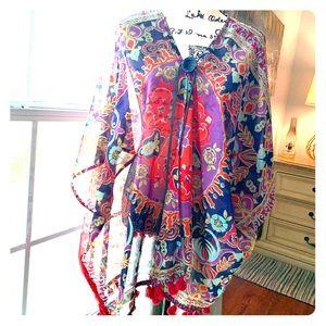 Kimono with Vintage button and leather tie around